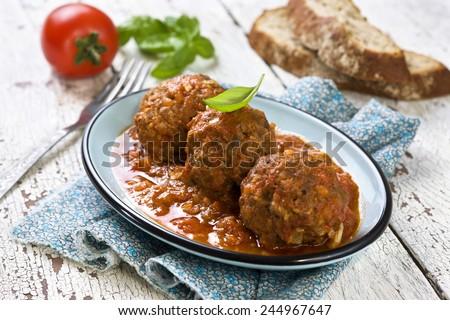 meatballs in tomato sauce - stock photo