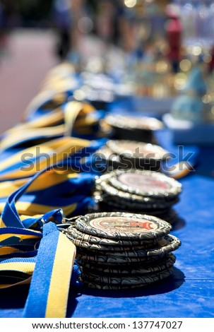 medal on the table - stock photo