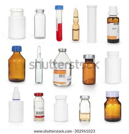 medical bottles and ampules collection isolated - stock photo