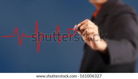 Medicine, Hand drawing color red - stock photo