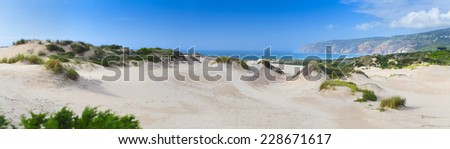 "31 Megapixels Panorama view of ""Praia do Guincho"", sand dune Guincho Beach on Atlantic ocean in Cascais, Portugal. - stock photo"