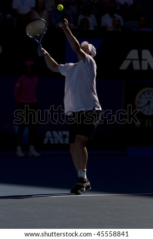 MELBOURNE, AUSTRALIA - JANUARY 26: Andy Roddick in action against Marin Cilic's (Croatia) quarter finals game during the 2010 Australian Open on January 26, 2010 in Melbourne, Australia - stock photo
