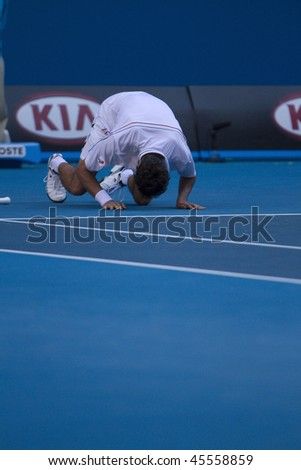 MELBOURNE, AUSTRALIA - JANUARY 26:  Marin Cilic in action against Andy Roddick's (Croatia) quarter finals game during the 2010 Australian Open on January 26, 2010 in Melbourne, Australia - stock photo