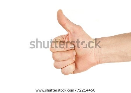 men's hand make thumbs up isolated over white - stock photo