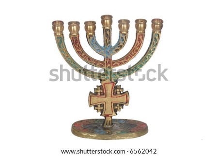 Menorah on white isolated background - stock photo