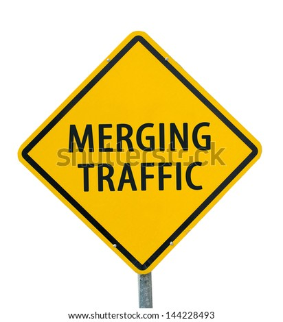 """MERGING TRAFFIC"" traffic sign isolated on white background - stock photo"