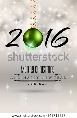 2016 Merry Christmas and Happy New Year Background for Seasonal Greetings Cards, Parties Flyer, DINNER Event Invitations, Xmas Cards and sp on. - stock photo