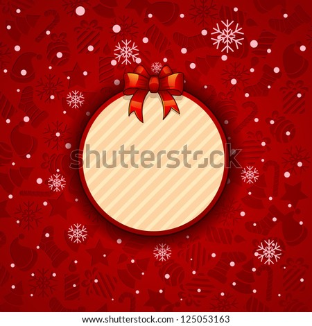 -Merry Christmas-, Creative label. red background with snowflakes. bitmap version - stock photo