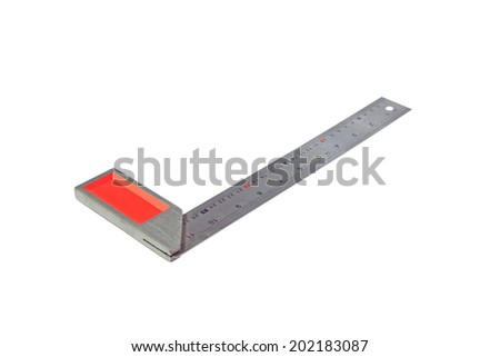 metal angle ruler isolated on white background  - stock photo