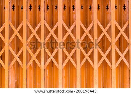 metal grille sliding door - stock photo