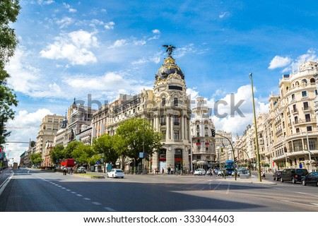 =Metropolis hotel in Madrid in a beautiful summer day, Spain - stock photo