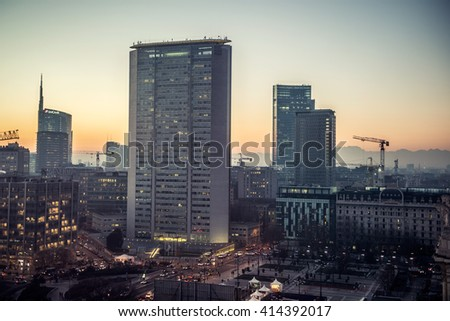 MILAN, ITALY-DEC 13: Pirelli skyscraper facade on December 13, 2013 in Milan, Italy. Upon its completion in 1960, at 127 m it was the tallest building in Italy  - stock photo