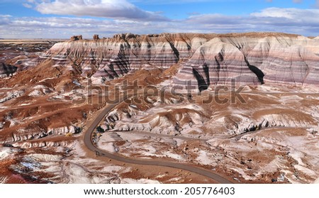 1.1 miles Blue Mesa hiking trail winds through stunning badlands formation at Petrified Forest National Park in North East Arizona USA. - stock photo