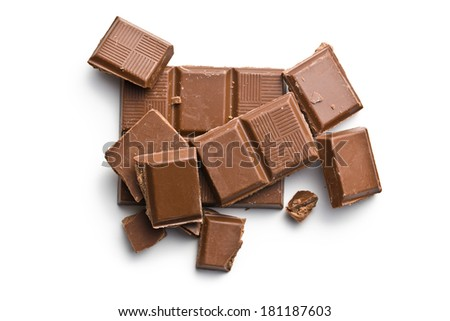 milk chocolate bars on white background - stock photo