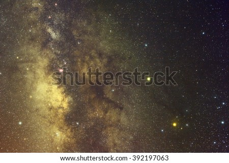 Milky Way with Nebula,Galaxy,Open Cluster,Globular Cluster, stars and space dust in the universe long expose. - stock photo