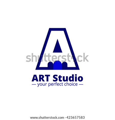 minimalistic art studio logo. Negative space pencil and A letter logo - stock photo