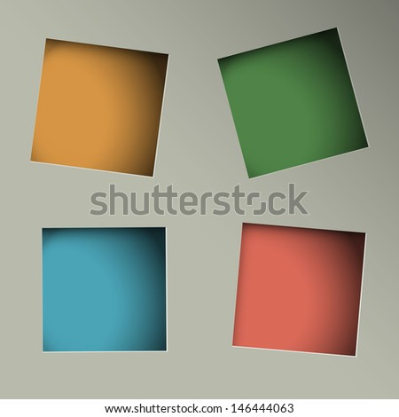 Minimalistic background with square paper holes. Raster version - stock photo