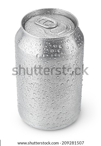 330 ml aluminum soda can with water drops isolated on white - stock photo