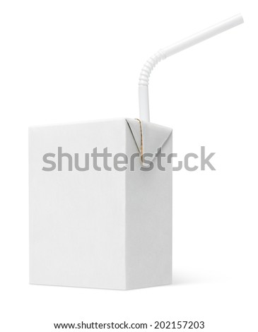 200 ml milk or juice carton package with straw isolated on white with clipping path - stock photo