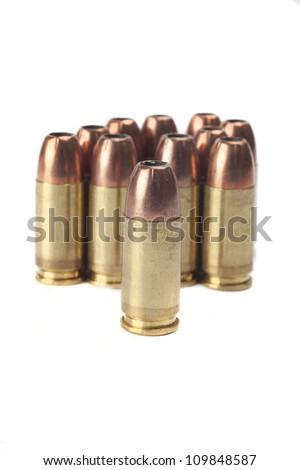 9mm ammunition in a bunch - stock photo