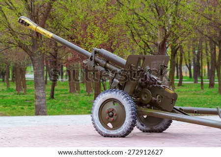 76 mm anti-tank cannon which was widely used by soviet army during the second world war - stock photo