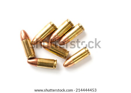 9mm bullet for a gun isolated on white background. - stock photo