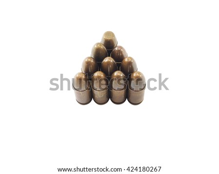 11mm bullets for a short gun. bullets isolated on white background. (Clipping path included) - stock photo