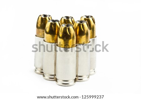 9 mm bullets on a white background isolated - stock photo