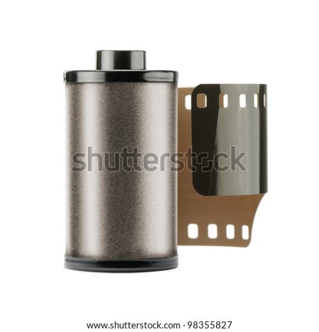 35mm camera roll film, isolated on white - stock photo