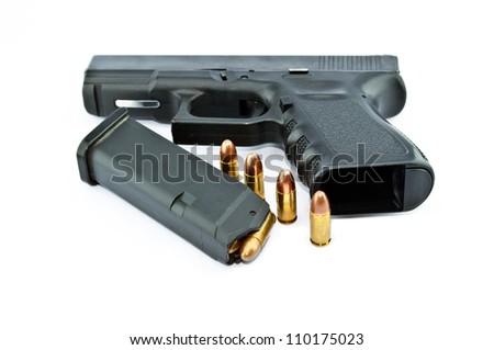 9-mm handgun automatic on white background - stock photo