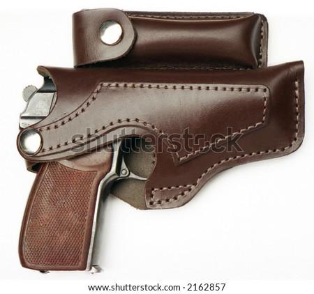 9 mm handgun in the cover - stock photo