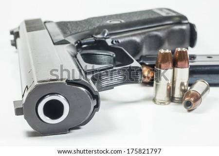 9 mm handgun  isolated on white  - stock photo
