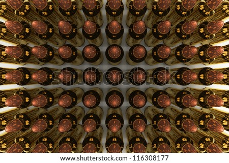 5.56 mm rifle bullets organizing in rows. - stock photo