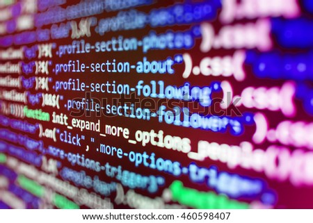 Mobile app developer. Abstract screen of software. Programming code on computer screen. HTML website structure. Internet security hacker prevention. Programming code typing.   - stock photo