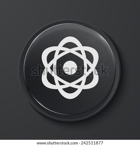 modern black glass circle icon - stock photo