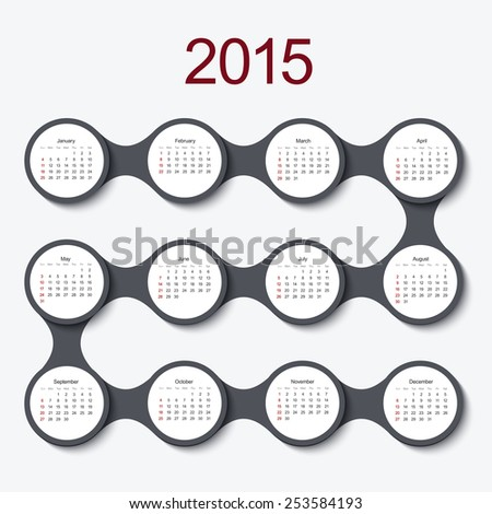 modern circle 2015 calendar on white background - stock photo
