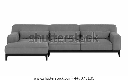 Modern corner sofa isolated on white background, front view, - stock photo