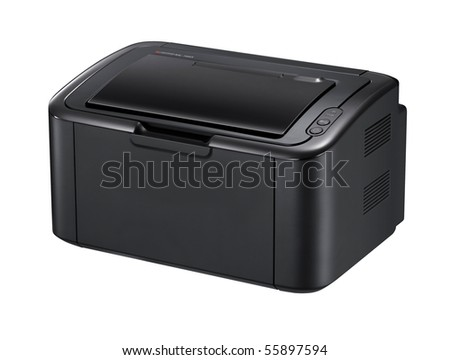 Modern digital printer on the white - stock photo