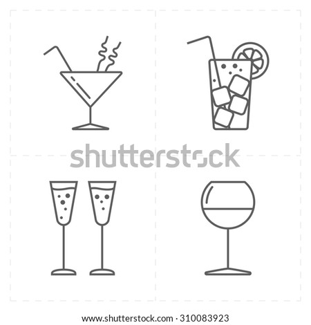 4 modern flat bar icons - stock photo