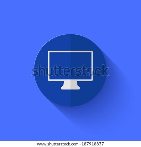 modern flat blue circle icon.  - stock photo