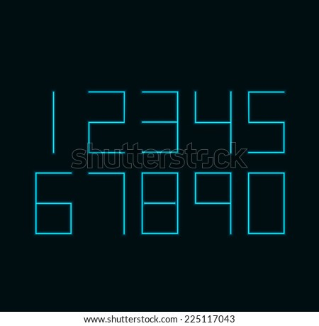 modern neon numbers on black background.  - stock photo