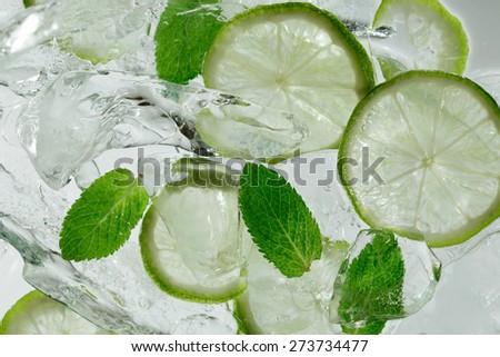 Mojito drink / Caipirinha shot/ Vodka shot / water glass /  tequila shot - stock photo