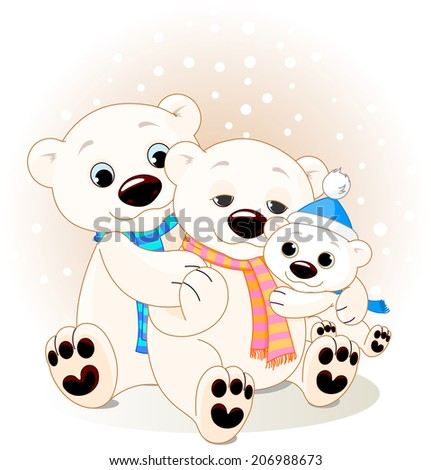 Mommy and Daddy bears with their baby  - stock photo