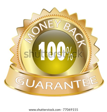 100% money back guarantee golden Icon - stock photo