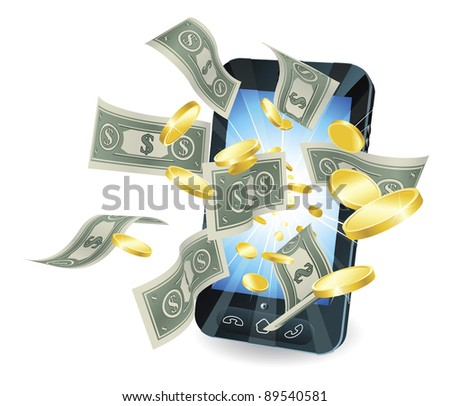 Money flying out of new style smart mobile phone. - stock photo