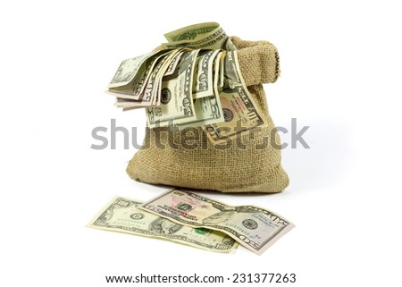 Money in Jute Bag Isolated on White Background - stock photo