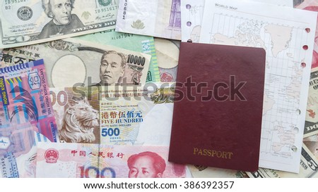 Money international Background, passport  concept  Money for  travel   - stock photo