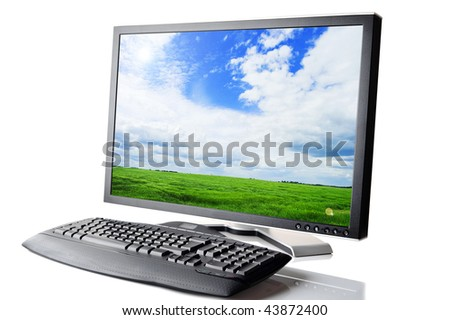 monitor and  black keyboard  isolated on white close up - stock photo