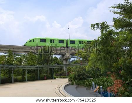 Monorail train from Sentosa island, Singapore - stock photo