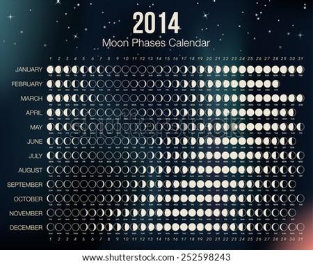 2014 Moon Phases Calendar. - stock photo